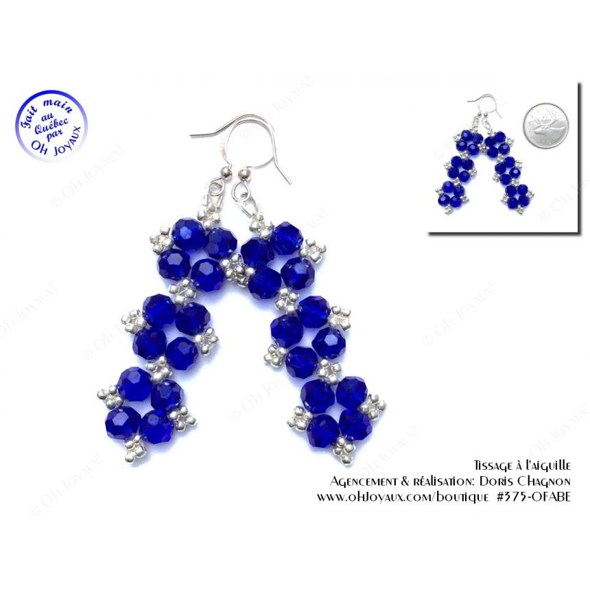 Boucles d'oreilles Glamour en cristal bleu