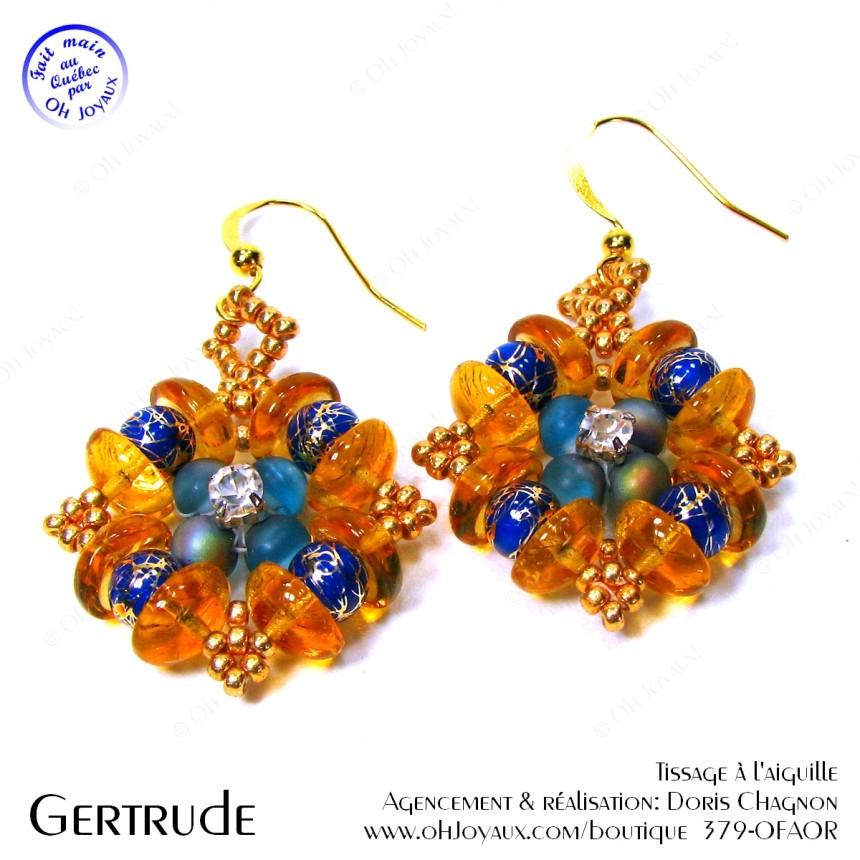 Boucles d'oreilles de couleur topaze et bleu