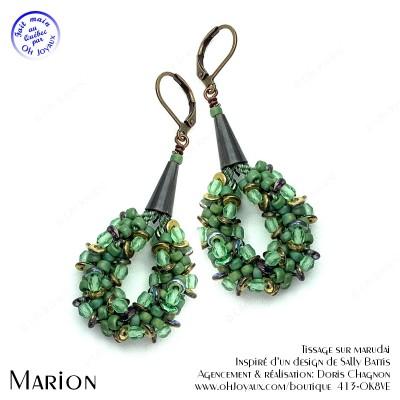Boucles d'oreilles Marion en vert et ambre