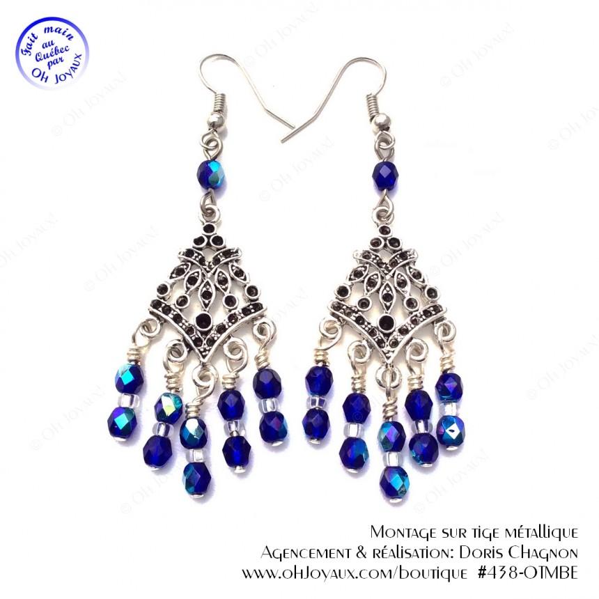 Boucles d'oreilles Mille et une nuits en bleu