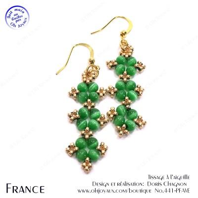 Boucles d'oreilles France en vert et or