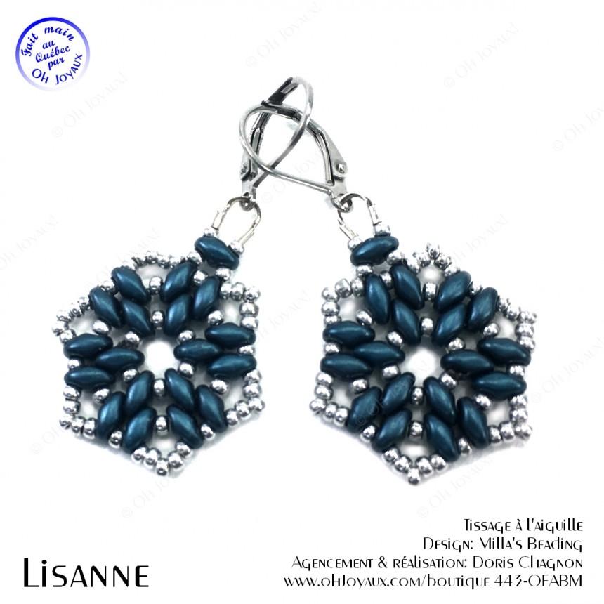 Boucles d'oreilles Lisanne en bleu denim et argenté