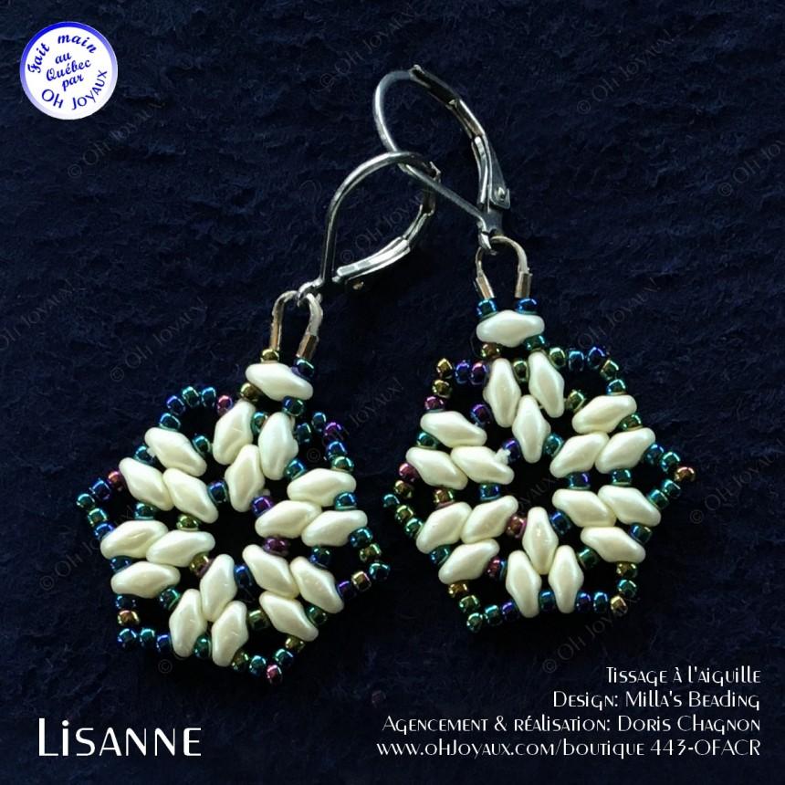 Boucles d'oreilles Lisanne en crème et bleu-vert panaché