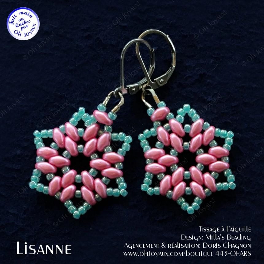 Boucles d'oreilles Lisanne en rose et turquoise