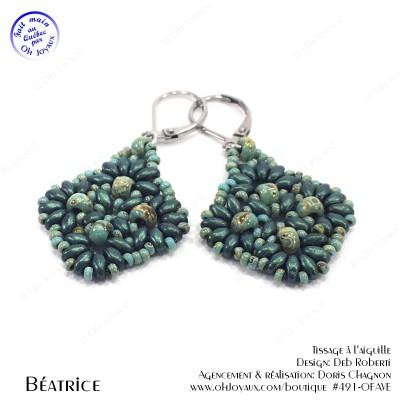 Boucles d'oreilles Béatrice en vert turquoise