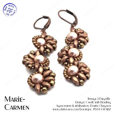 Boucles d'oreilles Marie-Carmen en teintes cuivrés et champagne