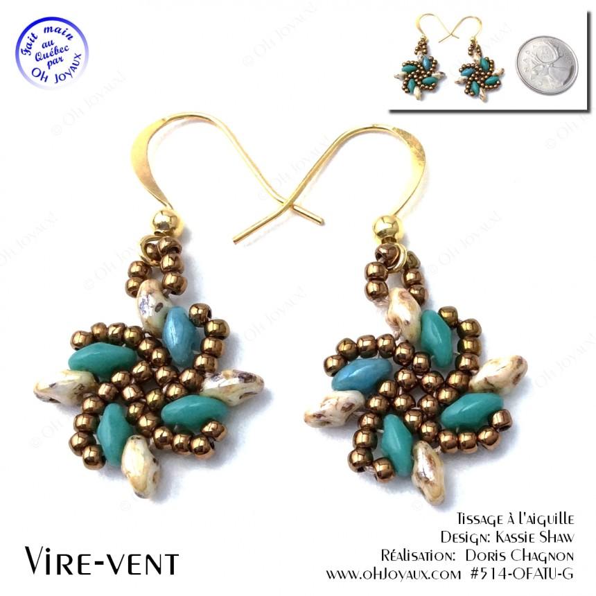 Boucles d'oreilles Vire-vent turquoise et beige Picasso