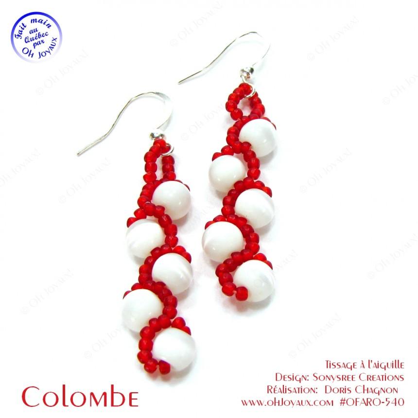Boucles d'oreilles Colombe en blanc et rouge