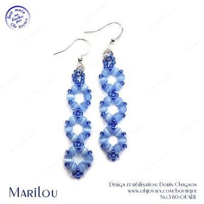 Boucles d'oreilles Marilou en bleu