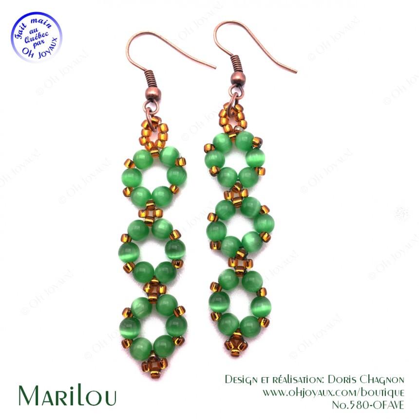 Boucles d'oreilles Marilou en vert