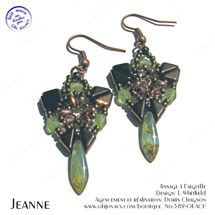 Boucles d'oreilles Jeanne en cuivre et olivine