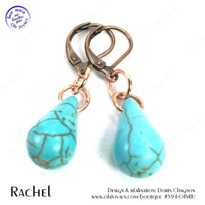 Boucles d'oreilles Rachel en turquoise et cuivré