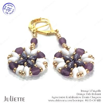 Boucles d'oreilles Juliette de couleur blanc, améthyste et doré