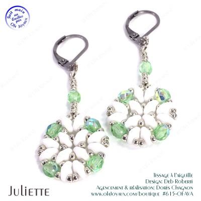 Boucles d'oreilles Juliette de couleur péridot, blanc, et argenté