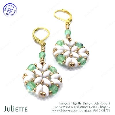 Boucles d'oreilles Juliette de couleur péridot, blanc, et doré