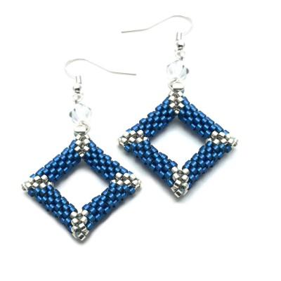Boucles d'oreilles Lise en bleu et argent