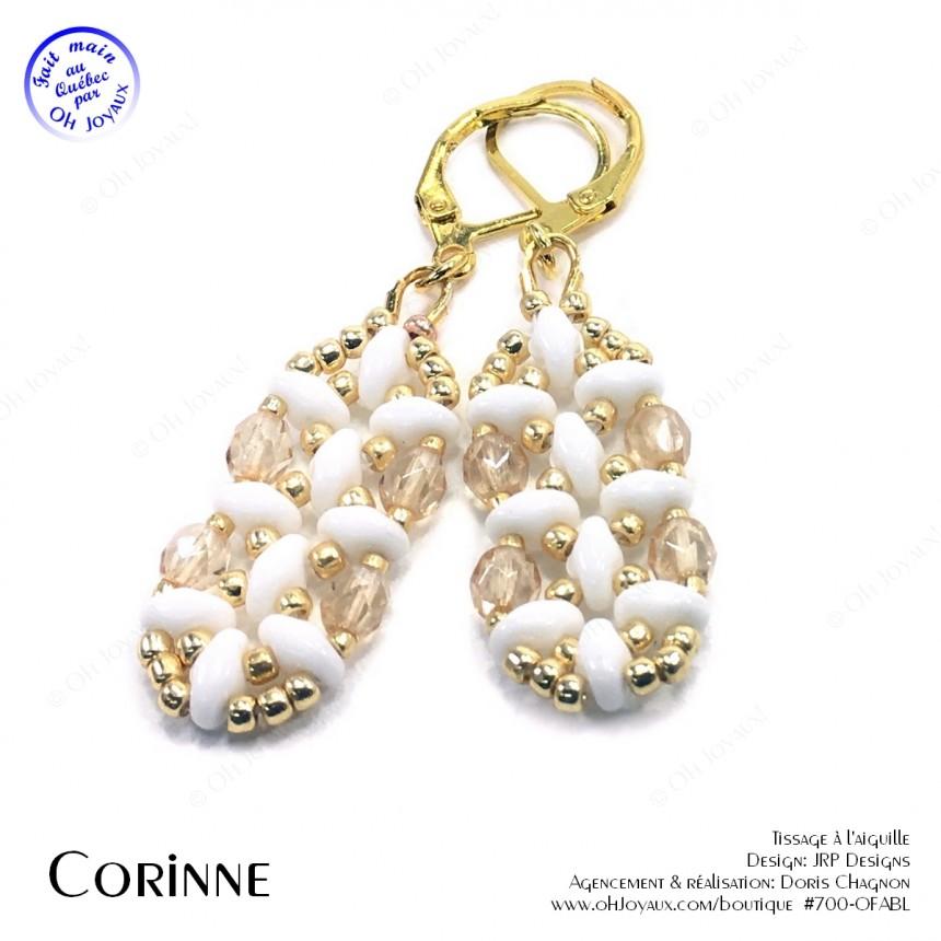 Boucles d'oreilles Corinne en blanc et doré