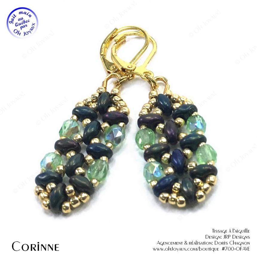 Boucles d'oreilles Corinne en vert irlandais et doré
