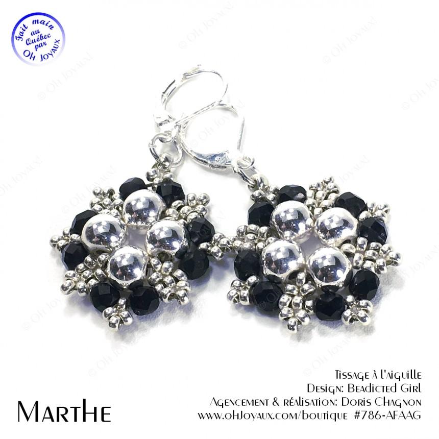 Boucles d'oreilles Marthe en noir et argenté