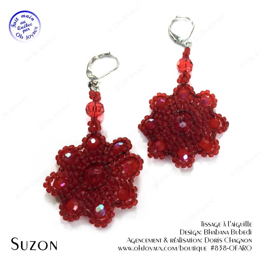 Boucles d'oreilles Suzon en rouge