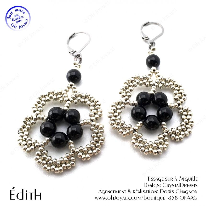 Boucles d'oreilles Édith de couleur noir et argenté