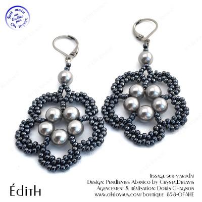 Boucles d'oreilles Édith de couleur gris argenté et hématite
