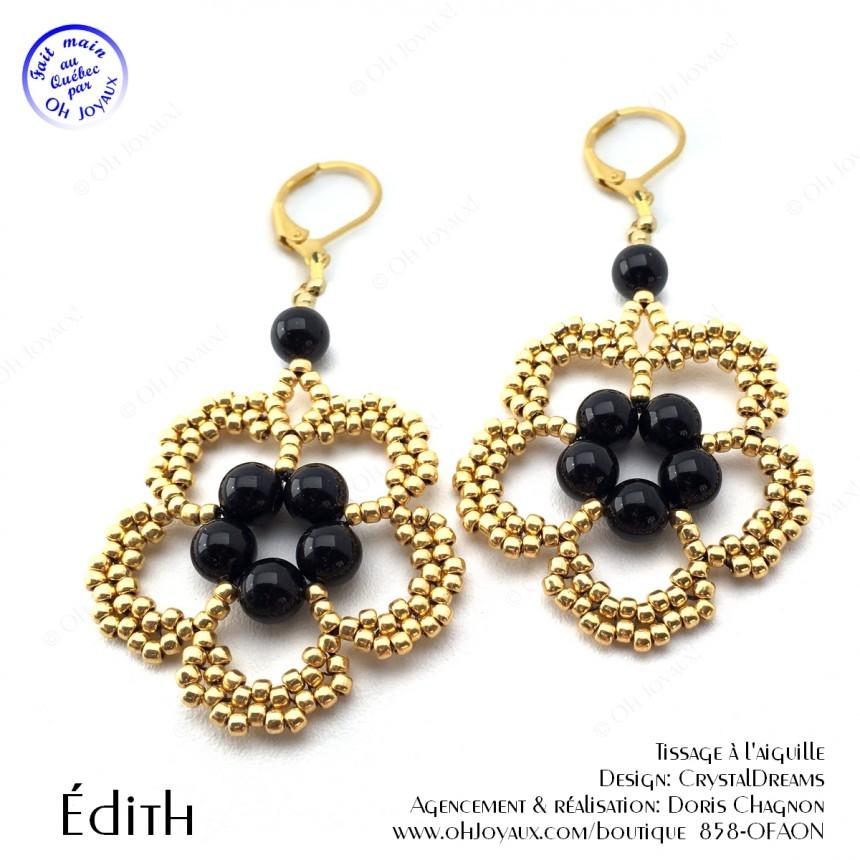 Boucles d'oreilles Édith de couleur noir et or