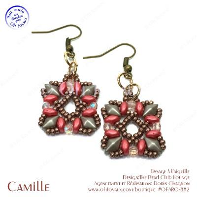 Boucles d'oreilles Camille en corail et taupe