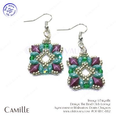 Boucles d'oreilles Camille en magenta et turquoise