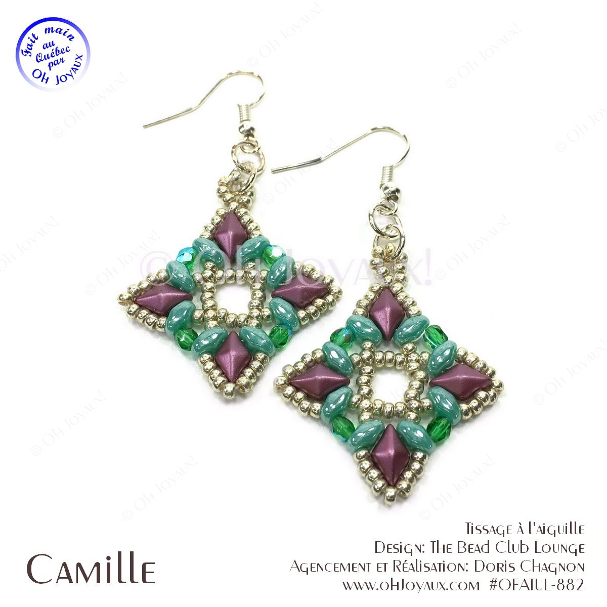 Boucles d'oreilles Camille en turquoise et magenta