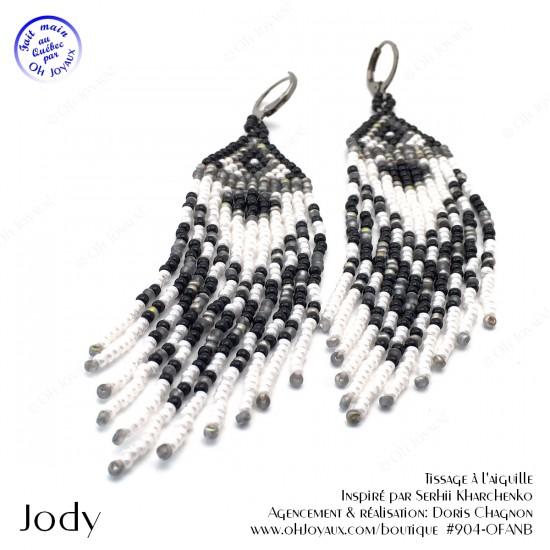 Boucles d'oreilles Jody en blanc, gris et noir