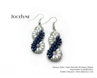 """Boucles d'oreilles """"Jocelyne"""" en marine et blanc"""