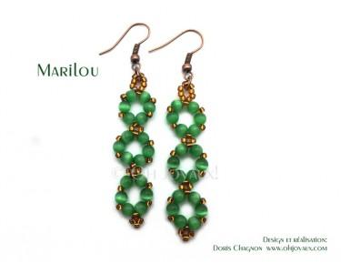 """Boucles d'oreilles """"Marilou"""" en vert"""