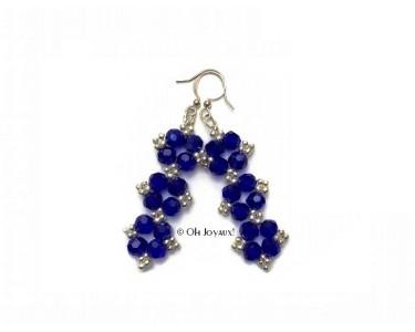 """Boucles d'oreilles """"Glamour"""" en cristal bleu"""