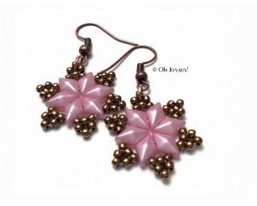 """Boucles d'oreilles """"Étoiles du sud"""" en  rose"""