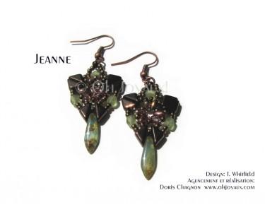 """Boucles d'oreilles """"Jeanne"""" en cuivre et olivine"""