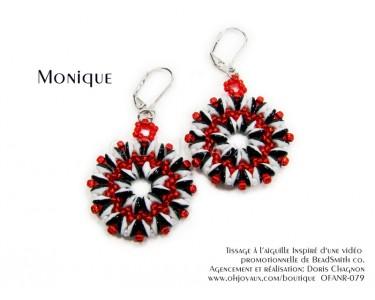 """Boucles d'oreilles """"Monique"""" en noir/blanc/rouge"""