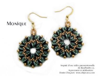 """Boucles d'oreilles """"Monique"""" en noir/vert/or"""