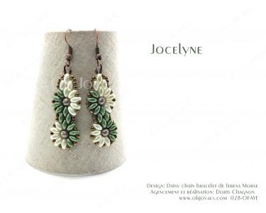 """Boucles d'oreilles """"Jocelyne"""" en olive et crème"""