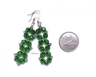 """Boucles d'oreilles """"Glamour"""" en cristal vert"""