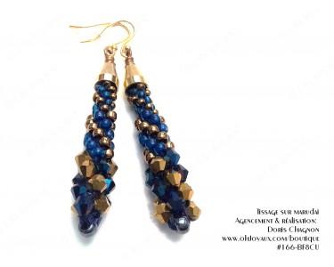 """Boucles d'oreilles """"Spirales d'or cuivré et de bleu"""""""