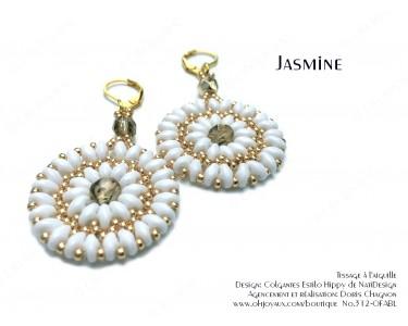 """Boucles d'oreilles """"Jasmine"""" en blanc et or"""