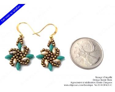 """Boucles d'oreilles """"Vire-vent"""" beige Picasso et turquoise"""