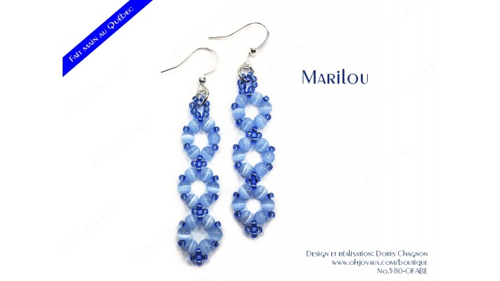"""Boucles d'oreilles """"Marilou"""" en bleu"""