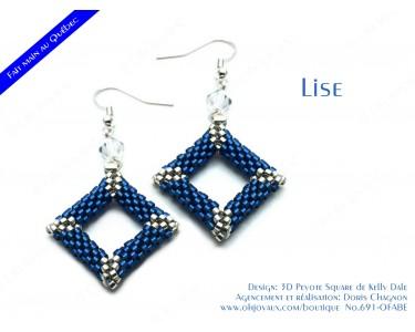 """Boucles d'oreilles """"Lise"""" en bleu et argent"""