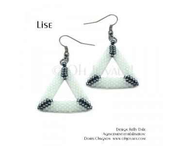 """Boucles d'oreilles """"Lise"""" triangulaires en blanc et noir"""
