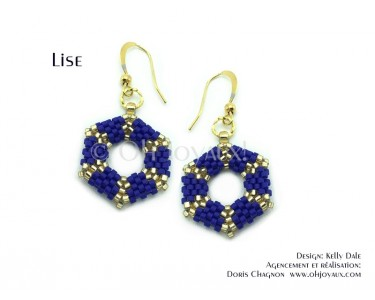 """Boucles d'oreilles """"Lise"""" hexagonales en marine et or"""