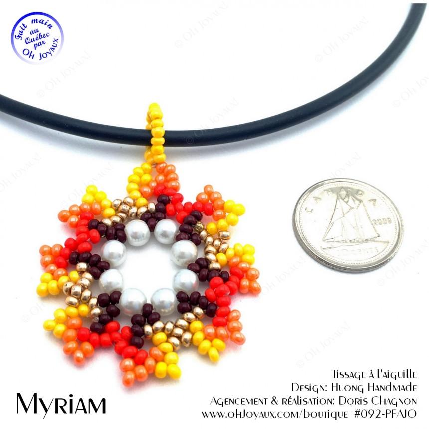 Pendentif Myriam en teintes jaune et orangé