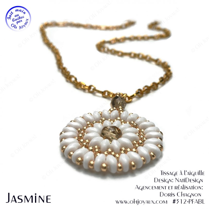 Pendentif Jasmine en blanc et or