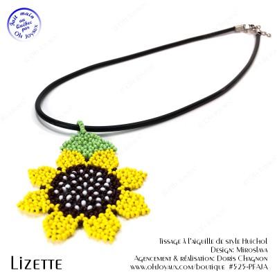 Pendentif Lizette en jaune de style Huichol